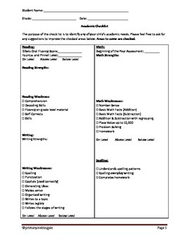 Conference Check List for Teachers