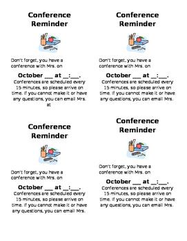 Conference Reminder Sheet