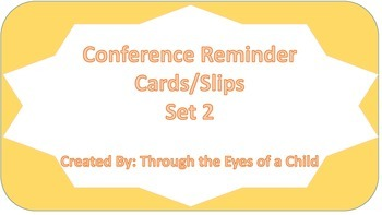 Conference Reminder Slips/Cards Style 2