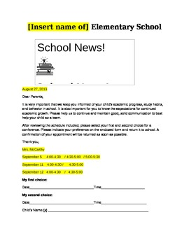 Parent Conference Request and PEP Conference Letters .