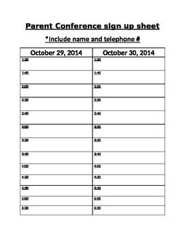 Conference Sing up sheet