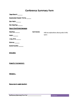 Editable Conference Summary Form