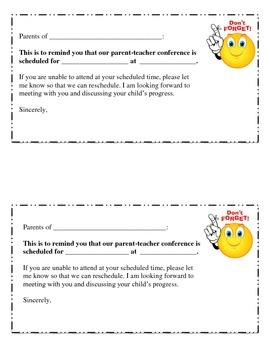 Conference reminder slip for parents