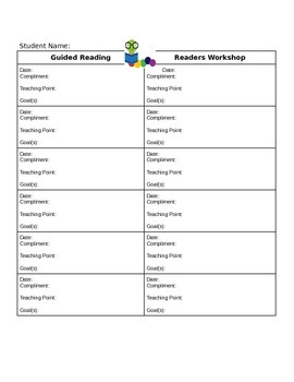 Conferencing Notes for Guided Reading and Readers Workshop