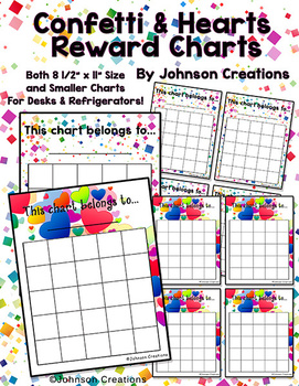 Confetti & Hearts Reward Charts