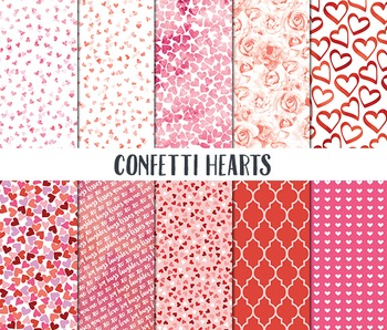 Valentine Digital Paper, Valentine Scrapbook Paper, Confet