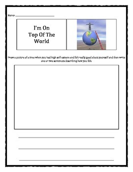 Confidence: I'm On Top Of The World worksheet