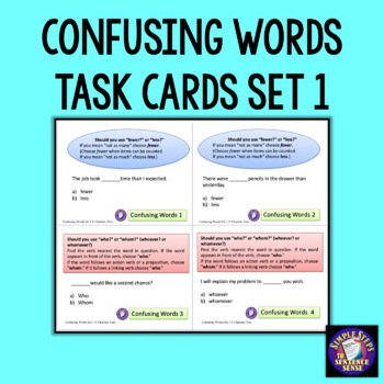 Confusing Words Task Cards Set 1