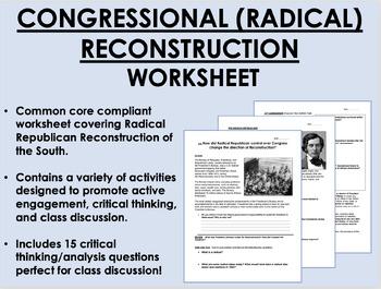 Congressional/Radical Reconstruction worksheet - US Histor