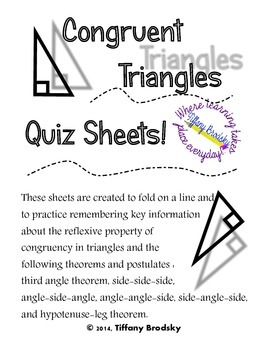 Congruent Triangles Quiz Sheet for High School and Adult E
