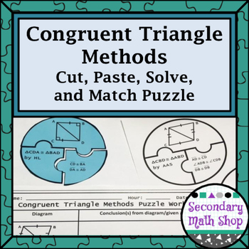 Congruent Triangles (SSS,SAS, ASA, AAS, HL) Cut, Paste, So