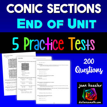 PreCalculus Conic Sections Huge Review Test Study Guide 20
