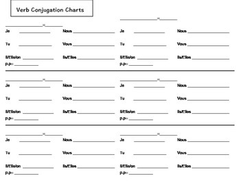 Conjugation Chart French Verbs!