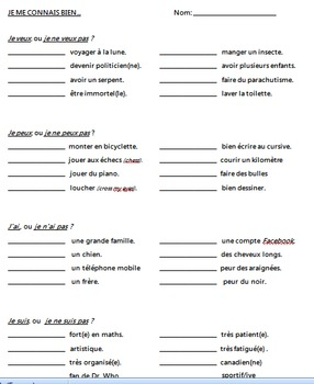 Conjugation and sentence practice with irregular French ve