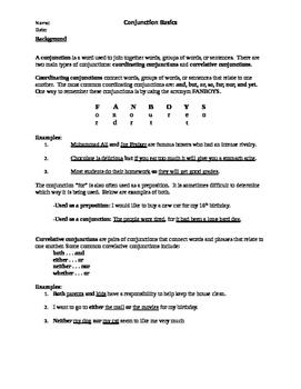 Conjunction Basics Worksheet