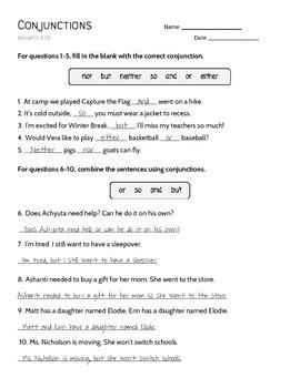 Conjunction Practice Worksheet