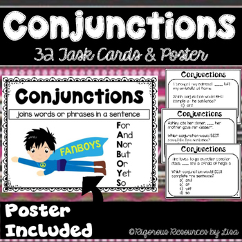 Conjunctions Poster and Task Cards