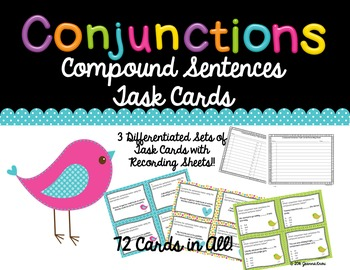 Conjunctions - Compound Sentences Task Cards