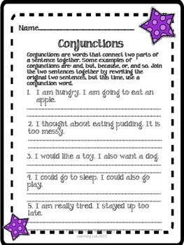 Conjunctions, Determiners, Prepositions, and Types of Sent