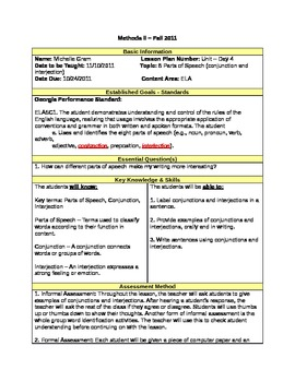 Conjunctions & Interjections Lesson Plan - 5th Grade