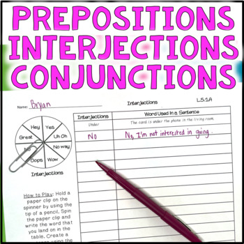 Conjunctions, Prepositions, Interjections Spinner Activity