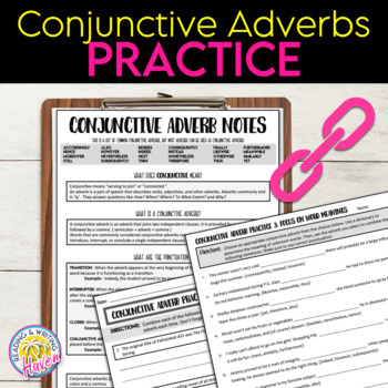 Conjunctive Adverbs Practice Worksheets
