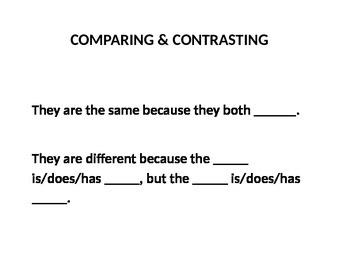 Comparing/Contrasting Sentence Framework