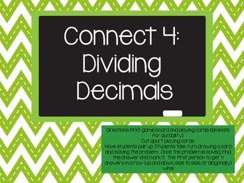 Connect 4: Dividing Decimals Game