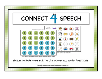Connect 4 Speech! Speech Therapy Game for /K/ All Word Pos