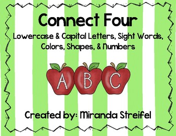 Connect Four-Lowercase & Capital Letters, Sight Words, Col