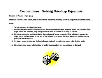 Connect Four One-Step Equations