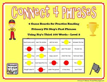 """4 """"Connect Four Phrases"""" Game Boards for Fry's THIRD 100 S"""