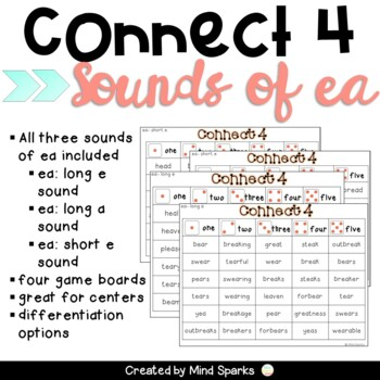Connect Four-- the three sounds of vowel team EA