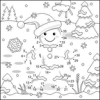 Connect the Dots and Coloring Page with Ginger Man, Commer