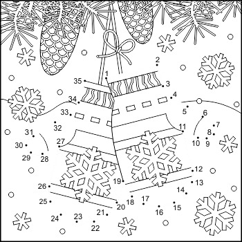 Connect the Dots and Coloring Page with Santa's Mittens, C