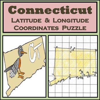 Connecticut State Latitude and Longitude Coordinates Puzzl