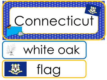Connecticut State Word Wall Bulletin Board Set. Geography