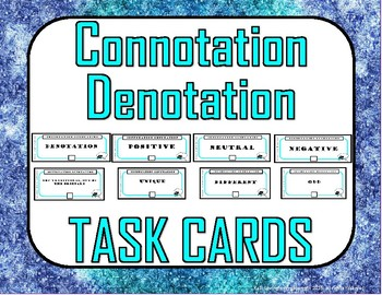 Connotation Denotation Task Cards