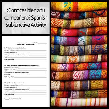 ¿Conoces bien a tu compañero? Spanish Subjunctive Activity