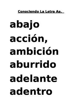 Conociendo La Letra Aa del Idioma Español