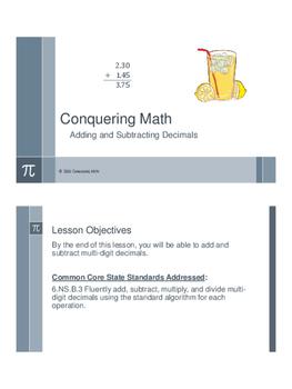 Conquering Math: Adding and Subtracting Decimals