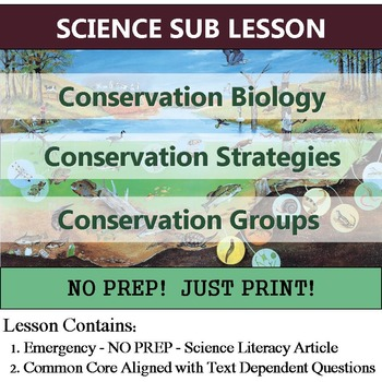 Conservation Biology - Ecololgy Sub Plan - Science Literac