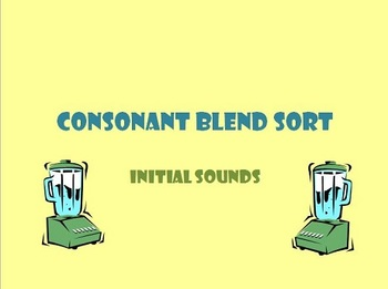 Consonant Blend Sort for SMART Board