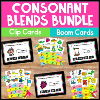Consonant Blends Clip Cards for Phonics Centers and Phonic