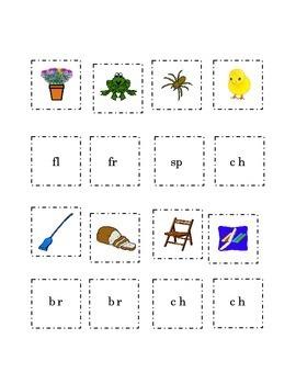 Consonant Blends Cut Paste Match Picture Beginning Blend W