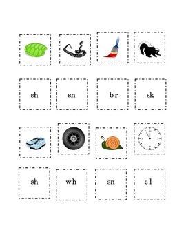 Consonant Blends Match Pictures Beginning Blend Word Cut P