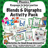 Blends and Digraphs Activity Pack- Response to Intervention