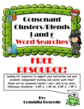 Consonant Blends/Consonant Clusters L and R Word Searches