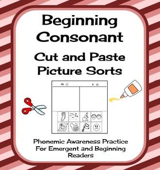 Consonant Cut and Paste Picture Sorts - Phonics / Phonemic