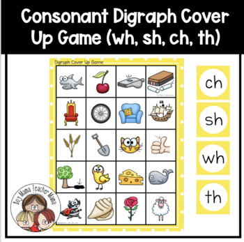Consonant Digraph Cover Up Game  (th, wh, sh, ch)